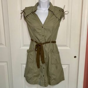 Green DKNY Button Up Dress